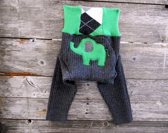 MEDIUM Upcycled Merino Wool Longies Soaker Cover Diaper Cover With Added Doubler Charcoal Gray/ Green With Elephant Applique 6-12M
