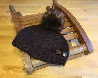 SALE - knitted brown angora/silk hat with button detail and faux fur pom-pom - 80s inspired