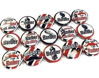 "Barber, 1"", 1.25"", Button, Barber Button, Barber Party Favor, Barber Flatback, Barber Shop Decor, Barber Birthday, Barber Theme, Barber Pin"