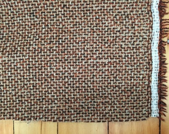 Woven Tweed Upholstery Fabric in Rust, Cream and Brown, 1 Yard x 54 inches wide, Feels like Wool, Medium to Heavyweight, has Backing