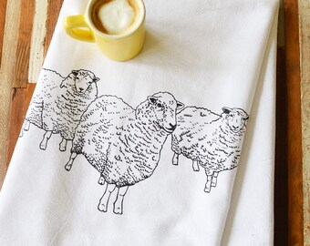 Tea Towel - Tea Towels Flour Sack - Organic Cotton - Kitchen Towels - Dish Towels - Screen Printed Tea Towels - Tea Towel Set - Sheep