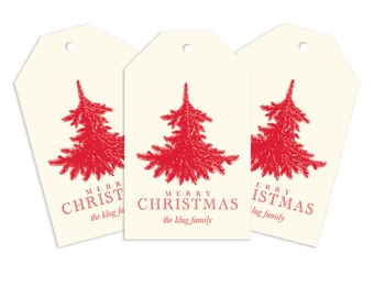 Custom Monogram Gift Tag, Flocked Tree Personalized Gift Tag for Gifts, Holidays, Weddings and More