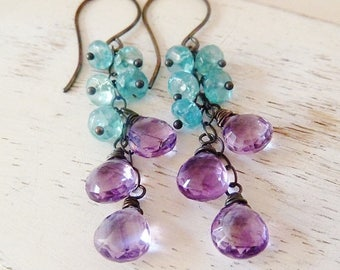 CLEARANCE Pink Amethyst and aqua neon Apatite silver earrings. Dangle earrings. February birthstone. Wire wrapped. Drop earrings. Urban chic
