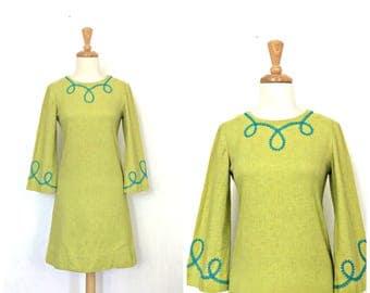 1960s Dress - shift dress - aline - linen - knee length - casual dress - Small Medium