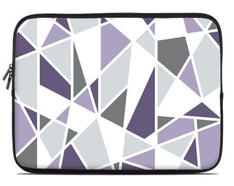 Geometric laptop sleeve, purple, lavender, gray, laptop cover, laptop case, to fit 10, 13, 15, 17 inch
