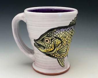 Fish Mug with Handpainted Crappie and Purple Inside, White Wheel Thrown Mug, Fishing Decor, For the Fisherman, Fish Art, 10 oz. Coffee Mug.