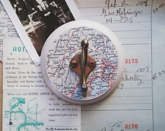Tokyo Map Hook, Wall Hook Made From a Vintage Map of Japan, Antique Brass Wall Hanger, Travel Inspired Decor, Key Hook, Coat Rack