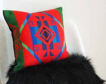 Wool Pillow Cover - 15X15 - lumbar size - Indian - cabin - luxe lodge - decorative pillow cover - ready to ship