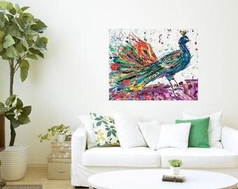Peacock art, Peacock print, Peacock wall art, bedroom art, Victorian Bird art, Johno Prascak, Johnos Art Studio