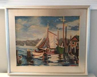 Vintage Harbour Scene Oil Painting on Board / Silver frame