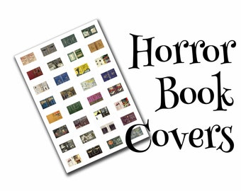 Horror books, dollhouse book covers, modern & vintage, 1:12, PDF digital file, three sizes, 32 styles, 96 book covers!