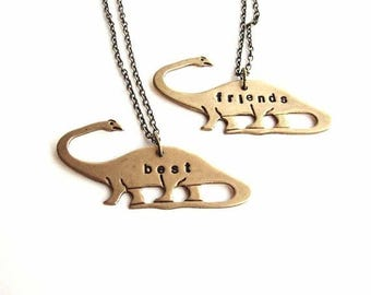 SALE best friends dinosaur necklace set - apatosaurus brontosaurus personalized custom jewelry bff necklace - As seen on Teen Vogue , The Fr