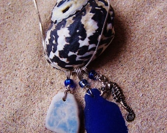 Sea Glass/Beach Glass and Surf Tumbled Pottery Necklace with Silver Coated Pewter Sea Horse Charm in Cobalt Blue on Sterling Box Chain M 18