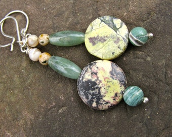 Jasper Earrings, Green and Yellow, Rustic Jewelry, Natural Gemstones, Simple and Earthy