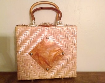 Vintage lucite and wicker woven handbag by Atlas of Hollywood Florida