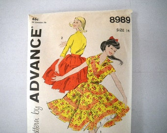 1950s Advance 8989 Square Dance Top & Skirt Pattern Sewing Size 14 Bust 34 Waist 26