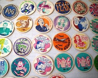 Lot of 52 Original Comic Strip Style Pogs Vintage Some Duplicates