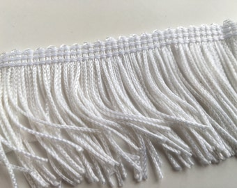 White Satin Fringe Trim 2 Yards with 2 Inch Drop