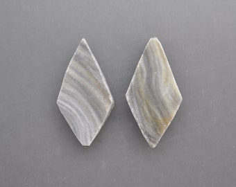 Chalcedony Drusy Cabochon Pair