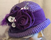 Downton Abbey Style Crocheted Hat...My Velvet Cabbage Roses and Feathers on a Purple Hat with a Purple Band and a Faux Hat Pin