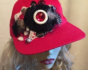Baseball Cap Red decorated with Black and White Flowers and Feathers