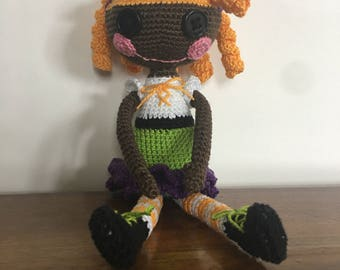 Crocheted doll with corkscrew curls
