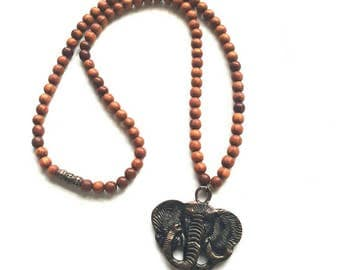 Men's elephant pendant necklace//wood bead necklace//wood and brass necklace//gift for him// Tribal//African