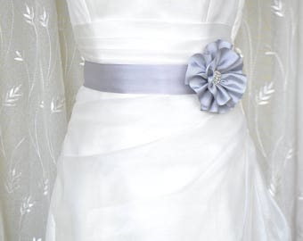 Handcraft Gray Grograin Flower Wedding Dress Bridal Sash Belt Wedding Accessories