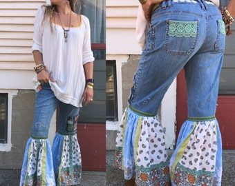 Flare bell Hippy  jeans, Size 12 ,patchwork jeans,boho jeans, bell bottom jeans, festival clothing, denim bell bottoms, green bells Zasra