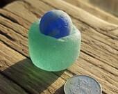 BLUE SEA MARBLE - Sea Foam Vial Base - Scottish Sea Glass - Marble Stand (6155)