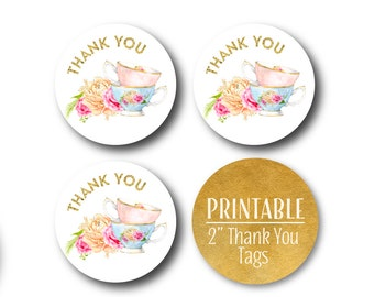 Tea Party Thank You Circles, Floral Tea Set Party Decor, Birthday, Thank You Tags, Gold, Pink and Blue Printable Stickers - 1566 1563