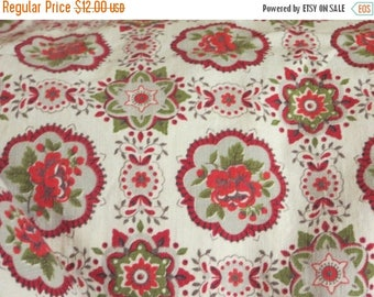 Going Out Of Business Vintage Red Roses Fabric-BTY-Medallions-Feedsack