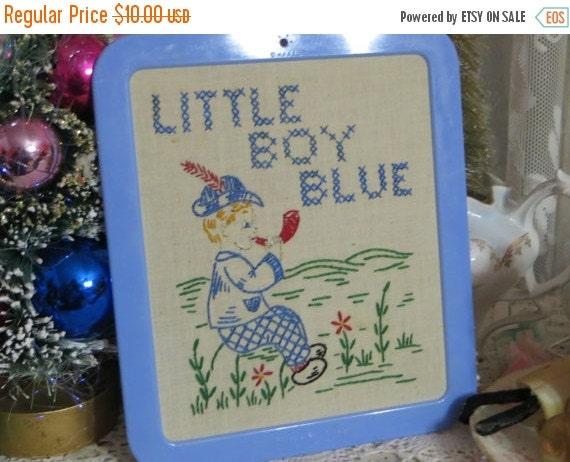 ON SALE Vintage Embroidered and Framed Children's Print-Littel Boy Blue-MINT