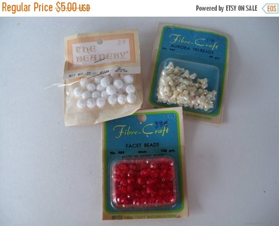 ON SALE Vintage Beads-Auora-Facet-Old Stock-3x-Valentines Mix