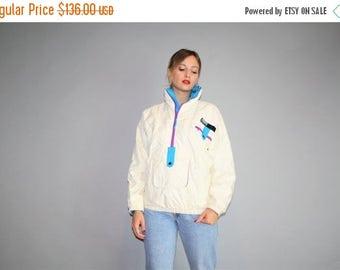 40% Limited time SALE  - VTG 80s Jansport Neon White and Blue Ski Jacket Winter Coat  - Vintage 1980s Ski Coat  - W00378