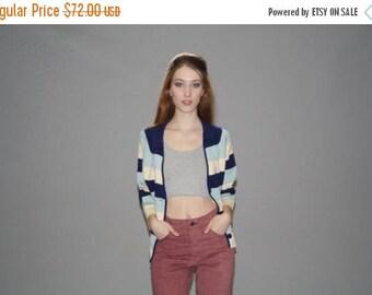 On SALE 40% Off - Vintage 1960s Blue Striped Mod Wool Knit Cardigan  -  Vintage 60s Blue Cardigan  -  Vintage Knit Cardigans  - WT0410