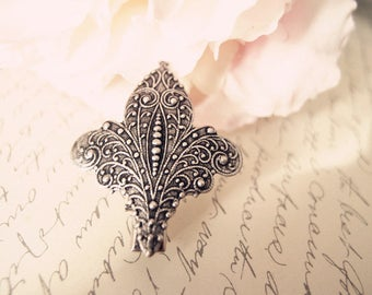 Higly detailed French Fleur De Lis Aligator Clip-goth-medieval-shabby chic-steampunk V020
