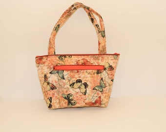 Alyssa shoulder bag purse with pockets in Earthtone Butterflies