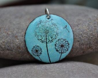 Vintage - Stylised - Dandelion seed head - enamel pendant