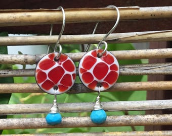 Hand Made Enamel Drop Earrings, Turquoise, Sterling Silver