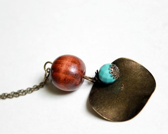 One-of-a-Kind Brass and Wood Bauble Necklace Ladies Jewelry Ladies Necklace Bohemian Necklace Long Necklace Statement Necklace