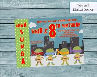 Ninja Turtle Birthday Party Invitation Style DI2191 DIGITAL FILE - Printable