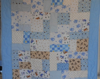 Proceeds Support Charity Work - Turning Twenty Flannel Baby Boy Quilt - Blue, Brown, White, Dog, Puppy, Bone, and Paws