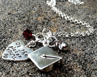 10 dollars off: Oh the Places You'll Go - Graduation necklace in Sterling Silver