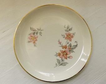 Vintage Dessert Plate With Floral Spray Design