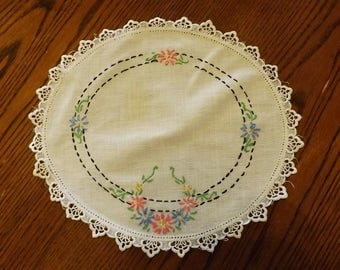 Vintage Hand Embroidered Round Doily