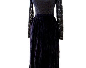Vintage 80s 90s Black Velvet and Lace Goth Dress - Black Velvet Dress with Broomstick Skirt - Long Sleeve Black Lace Gothic Dress - Small