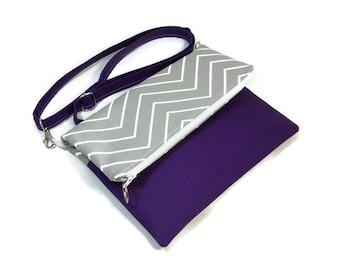 Gray Purple Fold Over Bag, Crossbody Bag, Zipper Foldover Purse, Cross Body Bag, Adjustable Strap, Removable Strap, Zipper Clutch, Zig Zag