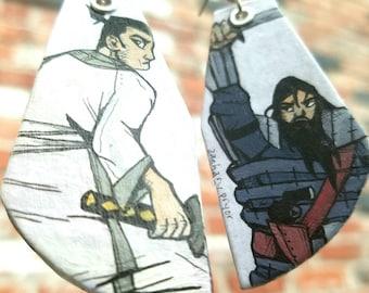 The Warrior - hand-painted Samurai Jack earrings