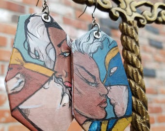 Hand-painted Storm and Wolverine - X-Men comic book inspired kiss earrings